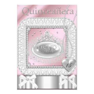 RSVP Quinceanera 15th Pink White Lace Pearl Invites