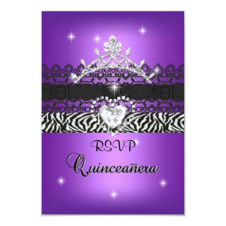 "RSVP Quinceanera 15th Zebra Purple Black 3.5"" X 5"" Invitation Card"