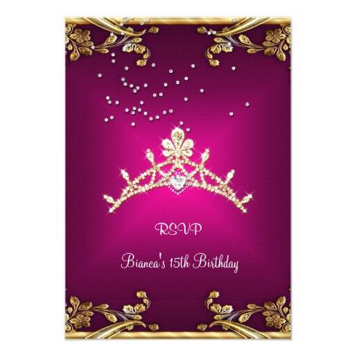 RSVP Quinceanera Birthday Pink Tiara Gold Diamond Invitation