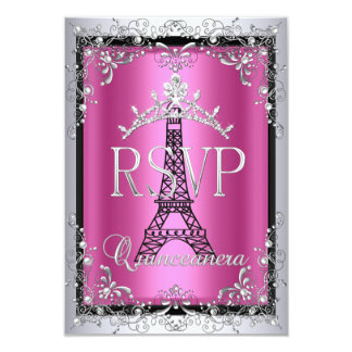 RSVP Quinceanera Pink Silver Tiara Eiffel Tower Card