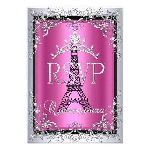 RSVP Quinceanera Pink Silver Tiara Eiffel Tower Announcements