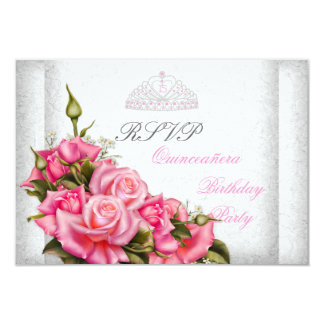 RSVP Quinceanera Pretty Pink Roses White 15th 9 Cm X 13 Cm Invitation Card