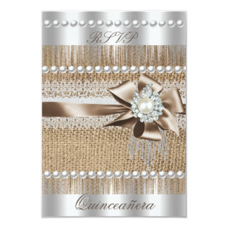 RSVP Quinceanera Rustic Burlap Pearl Lace Pearl Card