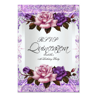 RSVP Quinceanera Silver Pink Lilac Purple Roses 9 Cm X 13 Cm Invitation Card