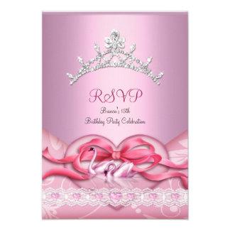RSVP Quinceanera White Pink Swans Tiara Heart Custom Announcement