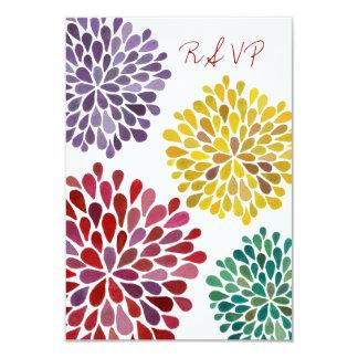 RSVP Rainbow Flower Blossoms Wedding Card Invite