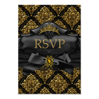 RSVP Reply Gold Black Damask Quinceanera Birthday Card