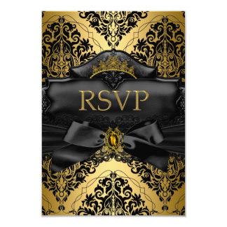 """RSVP Reply Gold Black Damask Quinceanera Birthday 3.5"""" X 5"""" Invitation Card"""