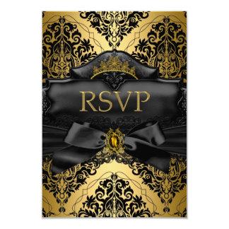 RSVP Reply Gold Black Damask Quinceanera Birthday 9 Cm X 13 Cm Invitation Card