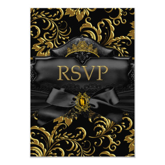 RSVP Reply Gold Floral Swirl Quinceanera Birthday 9 Cm X 13 Cm Invitation Card