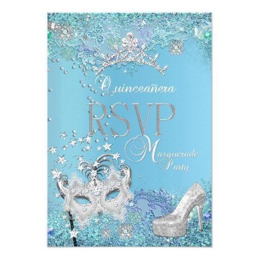 RSVP Reply Masquerade Quinceanera Blue Tiara Shoe Announcement