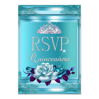 RSVP Reply Quinceanera 15 Party Blue Teal Roses 9 Cm X 13 Cm Invitation Card