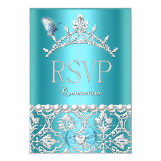 RSVP Reply Quinceanera 15th Blue Damask Butterfly 9 Cm X 13 Cm Invitation Card