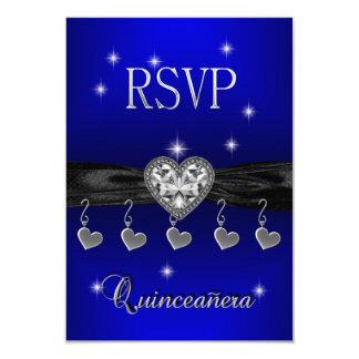 RSVP Reply Quinceanera 15th Royal Blue Black 9 Cm X 13 Cm Invitation Card