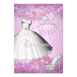 RSVP Reply Quinceanera Pink Tiara Dress Shoe Card