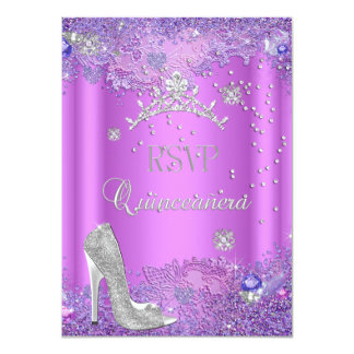 RSVP Reply Quinceanera Purple Pink Tiara Shoe 11 Cm X 16 Cm Invitation Card