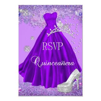 RSVP Reply Quinceanera Purple Tiara Dress Shoe Invites