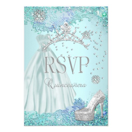 RSVP Reply Quinceanera Soft Teal Tiara Dress Shoe Invite