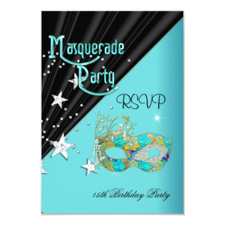 RSVP Reply Response Birthday Party Teal Gold Mask 9 Cm X 13 Cm Invitation Card