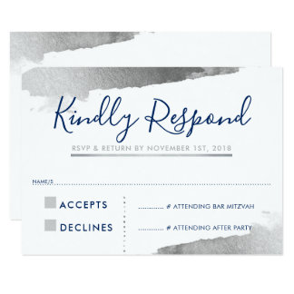 RSVP REPLY RESPONSE CARD gilded silver navy blue