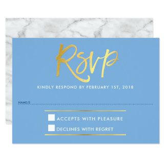 RSVP REPLY RESPONSE faux gold type cornflower blue Card