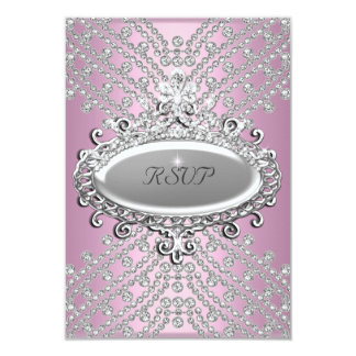 RSVP Reply Response Party Pink White Diamond Card