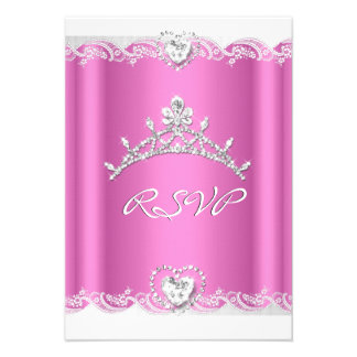 RSVP Reply Response Pink White Lace Quinceanera Custom Announcements