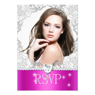 RSVP Reply Response Pink White Quinceanera Photo Personalized Invitations