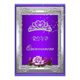 RSVP Reply Response Purple Silver Rose Quinceanera Card