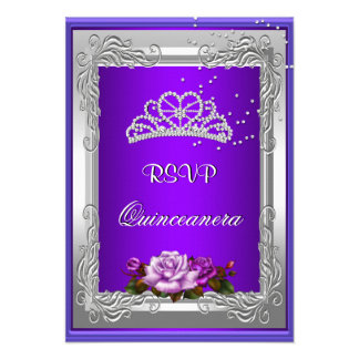 RSVP Reply Response Purple Silver Rose Quinceanera Personalized Announcement