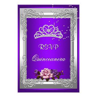 RSVP Reply Response Purple Silver Rose Quinceanera Invitation
