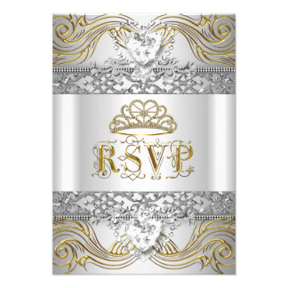 RSVP Reply Response Silver White Gold Quinceanera Personalized Invitations