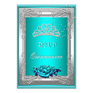 RSVP Reply Response Teal Silver Roses Quinceanera Custom Invitation