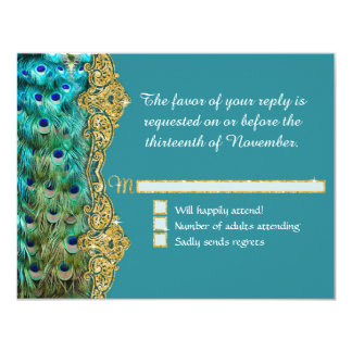 RSVP Response Art Deco Peacock Glam Old Hollywood 11 Cm X 14 Cm Invitation Card