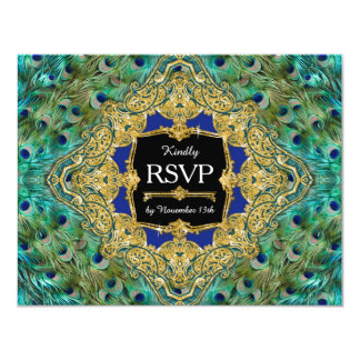 RSVP Response Art Deco Peacock Glam Old Hollywood Card