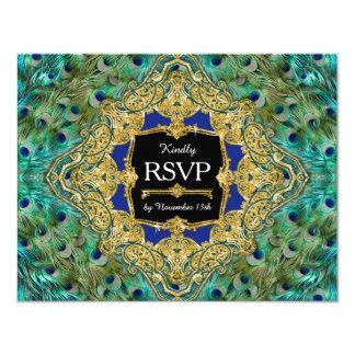 RSVP Response Art Deco Peacock Glam Old Hollywood 11 Cm X 14 Cm Invitation Card