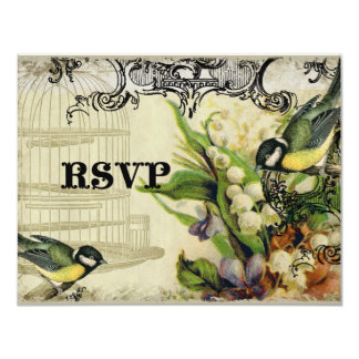 RSVP Response Card - Yellow Song Bird Cage Floral 11 Cm X 14 Cm Invitation Card