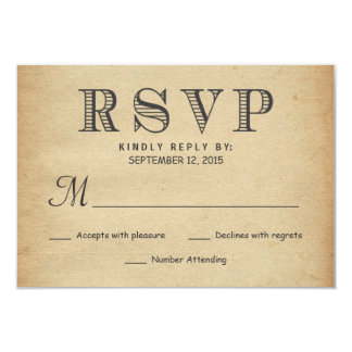 RSVP Rustic Antique Typography Wedding Reply Card