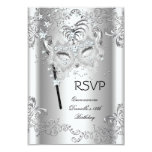 RSVP Silver Quinceanera 15th Birthday Masquerade
