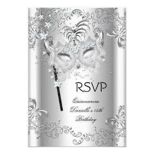 RSVP Silver Quinceanera 15th Birthday Masquerade Announcement