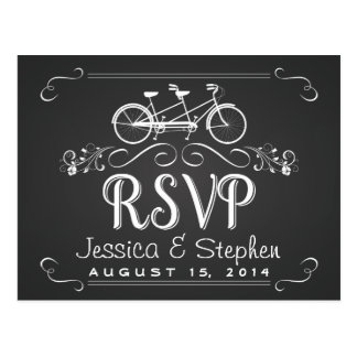 RSVP Tandem Bicycle for 2 Chalkboard Reply Postcard