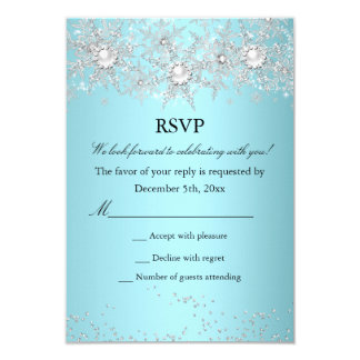RSVP Teal Blue Crystal Pearl Snowflake Winter 9 Cm X 13 Cm Invitation Card