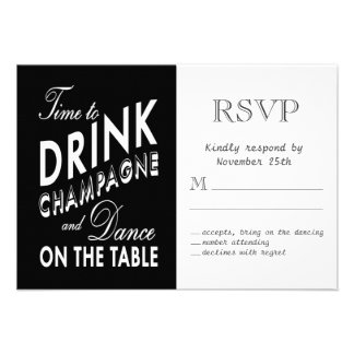 RSVP - Time to Drink Champagne Personalized Announcement