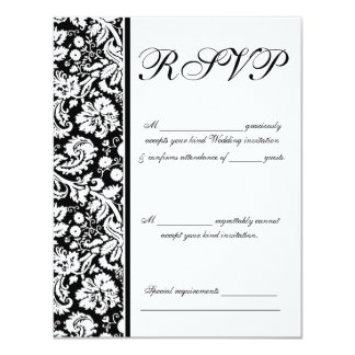 RSVP to Wedding, Color Select Damask Range Card