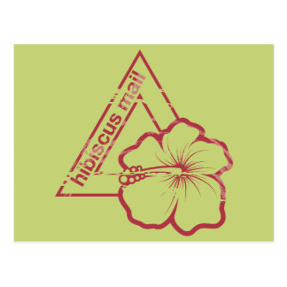 Rubber stamp hibiscus mail postcard