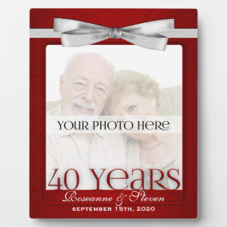 Ruby 40th Wedding Anniversary Photo Frame Plaque