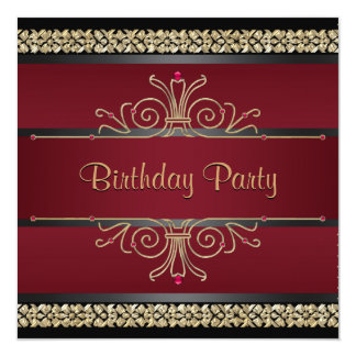 Ruby Red Black Gold Womans Birthday Party 13 Cm X 13 Cm Square Invitation Card