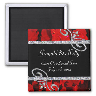Ruby Red Roses & Diamond Swirls Wedding Square Magnet