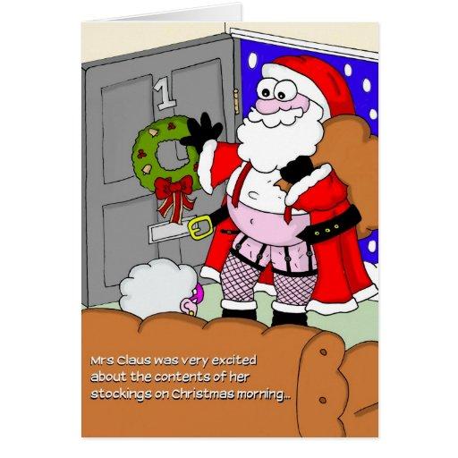 Rude Christmas Card - Santa in Stockings | Zazzle: zazzle.co.nz/rude_christmas_card_santa_in_stockings-137274318455202774