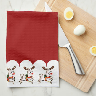 Rudolph the Red-Nosed Llama Tea Towel